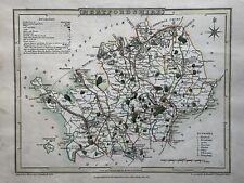 1805 Hertfordshire Original Antique Hand Coloured County Map by Cole & Roper