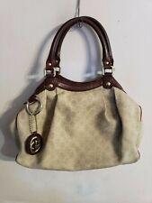 Gucci Sukey GG Beige Canvas Tote Purse Bag Handbag Cute