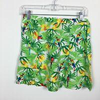 American Apparel M Medium Skirt Casual Parrot Tropical Unlined Back Zip