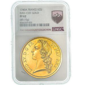 [#475196] Monnaie, France, Louis XV, Ecu, 1740, Paris, NGC, PF62, SUP+, Or, Gado