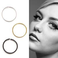 Sterling Silver Plain Nose Ring Hoop piercing Silver,Gold or Black 8mm or 10mm