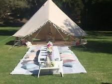 Beige Bell Tent 7M 4-Season Stove Jack Waterproof Canvas Camping Beach Tent Yurt