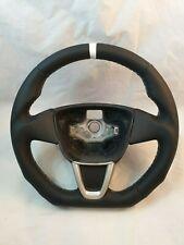 SPORT Leder Lenkrad Seat Ibiza 6J abgeflacht mit Daumenauflage und Griffmulde