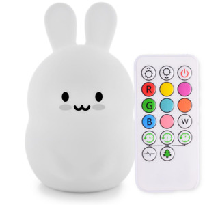 Bunny Night Light, LED Tap or Remote Sensor, 9 Colors, Great for Easter Gift