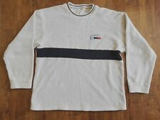 Tommy Hilfiger Spell Out Terry Cloth Gret Crew Neck Pull Over Fleece Sweater