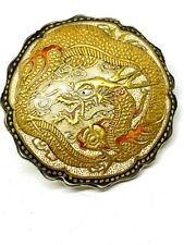 Antique Satsuma Pin/Brooch. Golden Dragon of Courage. Exquisite Detail, Artistry