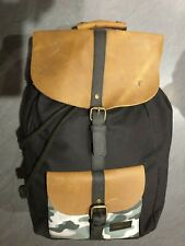 Forbes & Lewis Black & Camo Waxed Canvas & Leather Rucksack Back Pack