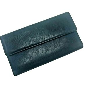 Buxton Wallet Blue Leather Check Book Cover Textured Cowhide Womens
