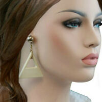 """Vintage 1980S Cream Triangle Dangle Pierced Earrings 3"""""""