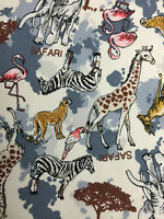 Cream/Grey Safari Jungle Animal Childrens Printed 100% Cotton Poplin Fabric.
