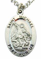 "St Michael Medal 1"" Pewter Saint & Cross Pendant w/ Steel Chain & Gift Bag Italy"