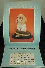 1952 Esquire Calendar Salesman Sample Calendar Dog Military Hat Hoops & Foley