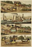 c1825 rare 4-panel h/coloured aquatint engraving of coaching and nautical scenes