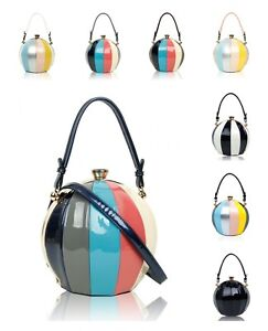 New Women's Ladies Stylish Round Shaped Strip Patterned Top-Handle Bag Big Size