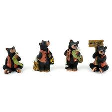 Miniature Dollhouse Fairy Garden - Black Bear Fishermen - Set of 4 - Accessories