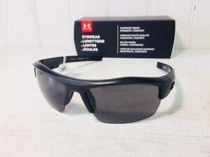UNDER ARMOUR IGNITER Satin Black Frame w Gray Lenses Sport Wrap Sunglasses