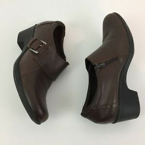 CLARKS Soft Cushion Women's Shoes Size 9 Leather Side-Zip Buckle Ankle Booties