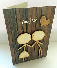 'You & me' unusual handmade valentines / romantic / love wooden card