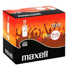 10 Maxell Music CD-R RECORDABLE CD's With Jewel Cases Audio CD's