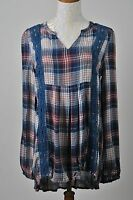 Woman's Boho Blue Plaid Crochet Lace Long Sleeve Tunic Top V-Neck Size Medium