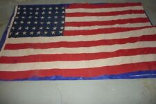 AMERICAN FLAG 48 STARS WWII OUTDOOR US USA 59x89 Stars Stamped on  Some Tears J6