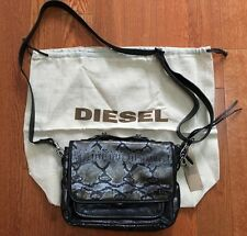 NWT Diesel Messenger Cross Body  Leather Bag With Snake Skin Print