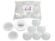 6 Pieces 10 Gram/10ml White Round Frosted Sample Jars with Inner Liner and Lid