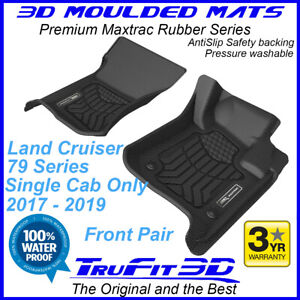 Fit Toyota Land Cruiser 79 Single Cab 3D Maxtrac Front Black Rubber Mats BTY2480