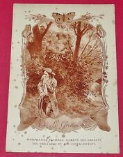 RARE 1900 CHROMO 13 x 19 FABLE DE FLORIAN LE GRILLON PHOSPHATINE FALIERES
