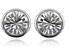 Simple Chic Round Circle Shape Crystal Elements Clear Stud Fashion Earrings