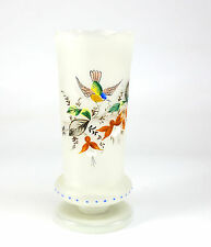 Czech Hand Painted Frosted Art Glass w/ Raised Enamel Floral & Bird, 20th Cenury
