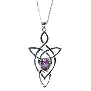 Silver / Blue John Triangular Pendant and Chain (Trinity)