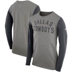 Dallas Cowboys Men's Heathered Gray Heavyweight Arch Long Sleeve T-Shirt Medium