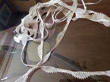 DRG19 Ancien galon dentelle fuseau fil de lin 1,5x600m / Old linen lace braid