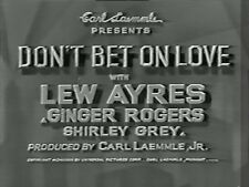 DON'T BET ON LOVE 1933 (DVD) LEW AYRES, GINGER ROGERS
