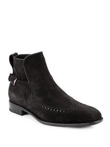 Salvatore Ferragamo Milton Black Suede Wingtip Brogue Ankle Boots Size 8.5 US