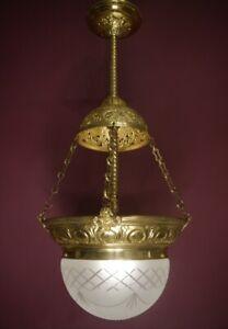 "ANTIQUE ONE LIGHT ART NOUVEAU BRASS LAMP CHANDELIER SATINED GLASS  Ø 14"""