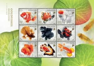 SINGAPORE 2021 GOLDFISH DEFINITIVE COLLECTOR'S SHEET OF 9 STAMPS MINT MNH UNUSED