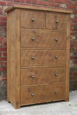 REAL SOLID WOODEN 6 DRAWERS CHEST SIDEBOARD CHUNKY RUSTIC PINE PLANK FURNITURE