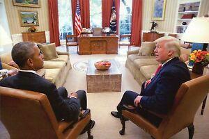 President Barack Obama & President-elect Donald Trump in Oval Office -- Postcard