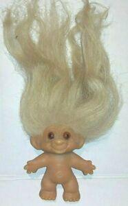 Vintage 1964 C64 Dam Troll Doll Blonde Hair Orange Glass Eyes  2.5 in.