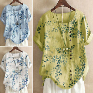 Womens Floral Short Sleeve T-Shirts Tops Ladies Casual Pullover Blouse Tunic Tee