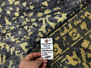 8x10 SILK RUG MODERN HAND-KNOTTED CONTEMPORARY BLUE GRAY GOLD ABSTRACT handmade