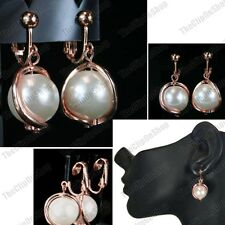 CLIP ON rose gold pink copper EARRINGS big CREAM PEARL wavy  NON-PIERCED CLIPS