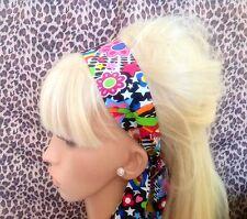MULTICOLOUR EIGHTIES PRINT NOVELTY HEAD SCARF HAIR BAND SELF TIE BOW 80s RETRO