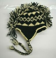 Black & White Unisex Mohawk Style Faire Isle Tie Sides Wool Winter Beanie OS