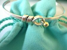 Tiffany & Co Sterling Silver & 18ct Gold Love Knot Hook & Eye Bangle - Excellent