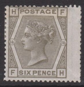 GB QV mint Surface Printed SG147 6d grey plate 16 cat. £500