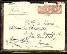 NYASALAND (P1210B) KE 1D STRIP OF 3 1910  COVER TO FRANCE