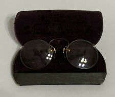ANTIQUE RIMLESS GLASSES /SPECTACLES WITH NOSE CLIP AND ORIGINAL CASE